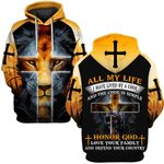 Hihi Store hoodie S / Hoodie Jesus ALl my life I have lived by a code and the code is simple Honor God ALL OVER PRINTD SHIRTS
