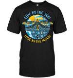 GearLaunch Apparel Unisex Short Sleeve Classic Tee / Black / S M121718 hippie live by the sun love by the moon