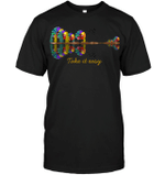 GearLaunch Apparel Unisex Short Sleeve Classic Tee / Black / S M042519  Hippie  Take it easy Hipppie Forest Lake Shadow Guitar