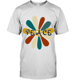 GearLaunch Apparel Unisex Short Sleeve Classic Tee / White / S M010319 hippie peace sign