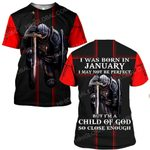 Hihi Store hoodie S / T Shirt Jesus God I was born in January I am a child of God ALL OVER PRINTED SHIRTS