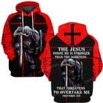 Hihi Store hoodie S / Hoodie Jesus God inside me is stronger than the darkness  ALL OVER PRINTED SHIRTS