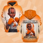 Hihi Store hoodie S / Hoodie Faith Hope Love MS Awareness she is clothed in strength and dignity  ALL OVER PRINTED SHIRTS