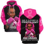 Hihi Store hoodie S / Hoodie Breast cancer she is clothed in strength and dignity and laught without fear ALL OVER PRINTED SHIRTS