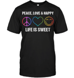 GearLaunch Apparel Unisex Short Sleeve Classic Tee / Black / S M010519 hippie  life is sweet