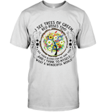 GearLaunch Apparel Unisex Short Sleeve Classic Tee / White / S M021219 hippie  I See Trees Of Green Red Roses Too