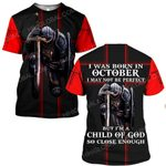 Hihi Store hoodie S / T Shirt Jesus God I was born in October I am a child of God ALL OVER PRINTED SHIRTS