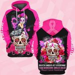 Hihi Store hoodie S / Hoodie Breast cancer awareness This warrior smiles back Death ALL OVER PRINTED SHIRTS