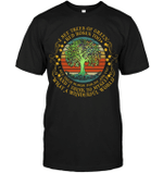 GearLaunch Apparel Unisex Short Sleeve Classic Tee / Black / S M022019 hiipie vintage I See Trees Of Green Red Roses Too Hippie