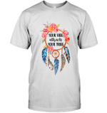 GearLaunch Apparel Unisex Short Sleeve Classic Tee / White / S M022019  Hippie  Your vibe attracts your tribe floral