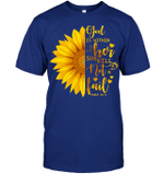 GearLaunch Apparel Unisex Short Sleeve Classic Tee / Deep Royal / S M030419  Hippie  God is within her sunflower