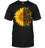 GearLaunch Apparel Unisex Short Sleeve Classic Tee / Black / S M030419  Hippie  God is within her sunflower
