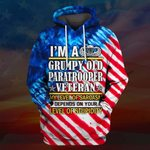 Hihi Store hoodie S / Hoodie I'm a grumpy old Paratrooper Veteran All Over Printed Shirts 062402
