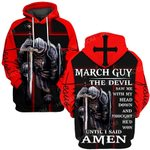 Hihi Store hoodie S / Hoodie Jesus God March guy The devil saw me until I said Amen ALL OVER PRINTED SHIRTS