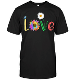 GearLaunch Apparel Unisex Short Sleeve Classic Tee / Black / S M022019 hippie love one another daisy