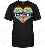 GearLaunch Apparel Unisex Short Sleeve Classic Tee / Black / S M031519  Hippie  Imagine Heart Shape Tie Dye