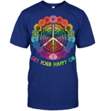 GearLaunch Apparel Unisex Short Sleeve Classic Tee / Deep Royal / S M040419  Hippie  Get your happy on, peace sign flower