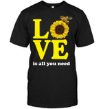 GearLaunch Apparel Unisex Short Sleeve Classic Tee / Black / S M042419  HIppie  Love is all you need Sunflower