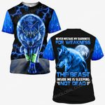 Hihi Store hoodie S / T Shirt Wolf never mistake my darkness for weakness ALL OVER PRINTED SHIRTS