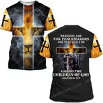 Hihi Store hoodie S / T Shirt Jesus God Blessed are the peacemakers called the children of God ALL OVER PRINTED SHIRTS