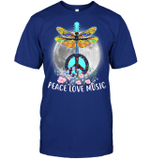 GearLaunch Apparel Unisex Short Sleeve Classic Tee / Deep Royal / S M122118 hippie Dragonfly Peace Love Music
