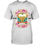 GearLaunch Apparel Unisex Short Sleeve Classic Tee / White / S M022019 hippie peace love flower hippie car
