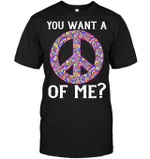 GearLaunch Apparel Unisex Short Sleeve Classic Tee / Black / S M120618  Hippie  You want a peace of me