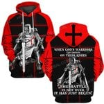 Hihi Store hoodie S / Hoodie Jesus God Christmas Gifts When God's warriors go down on their knees The battle is not over it has just begun ALL OVER PRINTED SHIRTS