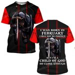 Hihi Store hoodie S / T Shirt Jesus God I was born in February I am a child of God ALL OVER PRINTED SHIRTS