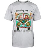 GearLaunch Apparel Unisex Short Sleeve Classic Tee / Ash / S M010919 hippie If travelling was free you's never see me again