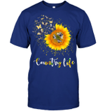 GearLaunch Apparel Unisex Short Sleeve Classic Tee / Deep Royal / S M030619  Hippie  Country life dragonfly sunflower
