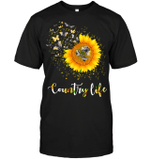GearLaunch Apparel Unisex Short Sleeve Classic Tee / Black / S M030619  Hippie  Country life dragonfly sunflower