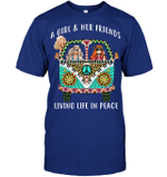 GearLaunch Apparel Unisex Short Sleeve Classic Tee / Deep Royal / S M01031918 hippie A girl & her friends Living life in peace