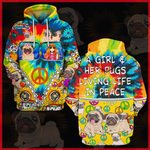 Hihi Store hoodie S / Hoodie A Girl and her Pugs All Over Printed Shirts 041004