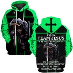 Hihi Store hoodie S / Hoodie / Green I am on team Jesus not religious  ALL OVER PRINTED SHIRTS
