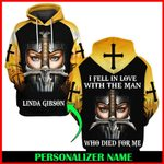 Hihi Store hoodie S / Hoodie Jesus God I fell in love with the man who died for me Personalized Name  ALL OVER PRINTED SHIRTS 006
