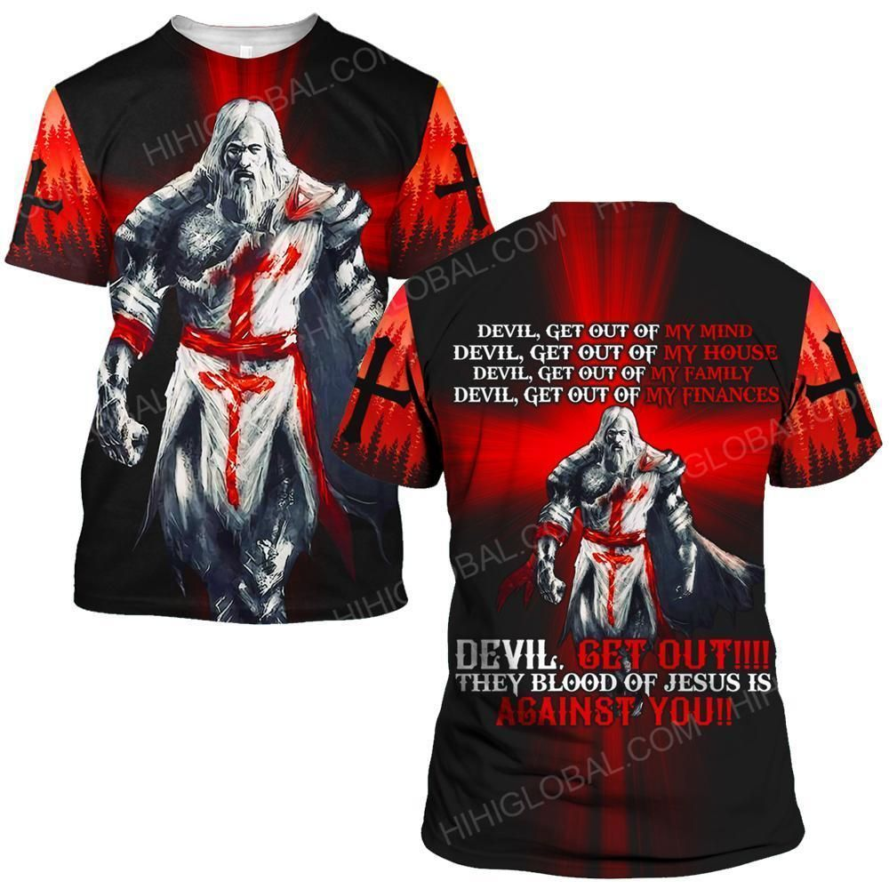 Hihi Store hoodie S / T Shirt Jesus God Devil get out They blood of Jesus to against you  ALL OVER PRINTED SHIRTS
