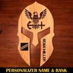 Hihi Store wooden Seaman Apprentice 🇺🇸 ️Us Navy Wooden Personalized laser engraving Spartan Helmet 112503 🇺🇸