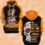 MS awareness strong flower skull ALL OVER PRINTED SHIRTS DH13