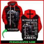 Jesus God October Guy Personalized Name  ALL OVER PRINTED SHIRTS 121710