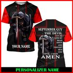 Jesus God September Guy Personalized Name  ALL OVER PRINTED SHIRTS 121709