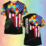 Autism awareness skull warrior ALL OVER PRINTED SHIRTS DH24