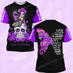 Lupus awareness is a journey butterfly flower skull ALL OVER PRINTED SHIRTS DH0102
