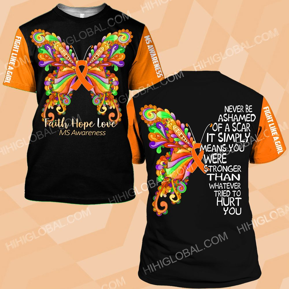 MS awareness never be ashamed of a scar butterfly ALL OVER PRINTED SHIRTS DH0201