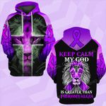 Keep calm my god is greater than Fibromyalgia lion ALL OVER PRINTED SHIRTS DH021002