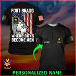 U.S. Army Fort Bragg Where boys become men ALL OVER PRINTED SHIRTS 022501