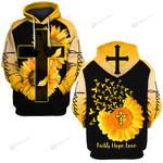 Faith hope love sunflower cross God Christian  ALL OVER PRINTED SHIRTS DH031602