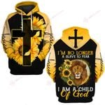 I'm no longer a slave to fear I am child of God sunflower Lion ALL OVER PRINTED SHIRTS DH0316