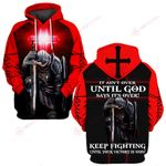 It ain't over until God says it's over keep fighting red cross ALL OVER PRINTED SHIRTS DH0317