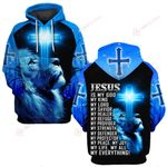 Jesus is my everything blue lion front back ALL OVER PRINTED SHIRTS DH032003